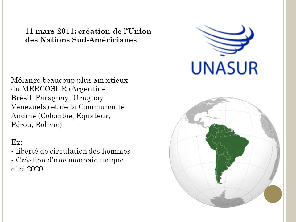 11 mars 2011: création de lUnion des Nations Sud-Américianes Mélange beaucoup plus ambitieux du MERCOSUR (Argentine, Brésil, Paraguay, Uruguay, Venezuela) et de la Communauté Andine (Colombie, Equateur, Pérou, Bolivie) Ex: - liberté de circulation des hommes - Création dune monnaie unique dici 2020