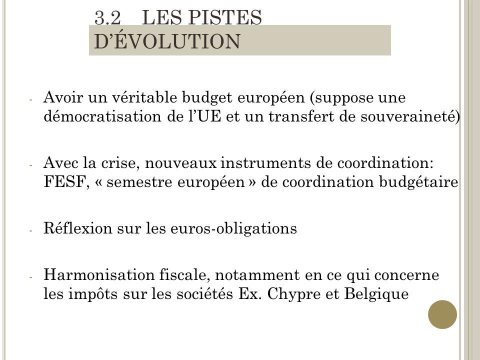 - Avoir un véritable budget européen (suppose une démocratisation de lUE et un transfert de souveraineté) - Avec la crise, nouveaux instruments de coordination: FESF, « semestre européen » de coordination budgétaire - Réflexion sur les euros-obligations - Harmonisation fiscale, notamment en ce qui concerne les impôts sur les sociétés Ex.