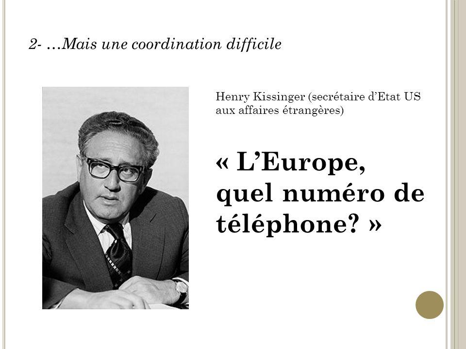 2- …Mais une coordination difficile Henry Kissinger (secrétaire dEtat US aux affaires étrangères) « LEurope, quel numéro de téléphone.