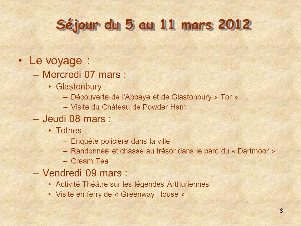 8 Le voyage : –Mercredi 07 mars : Glastonbury : –Découverte de lAbbaye et de Glastonbury « Tor » –Visite du Château de Powder Ham –Jeudi 08 mars : Tot