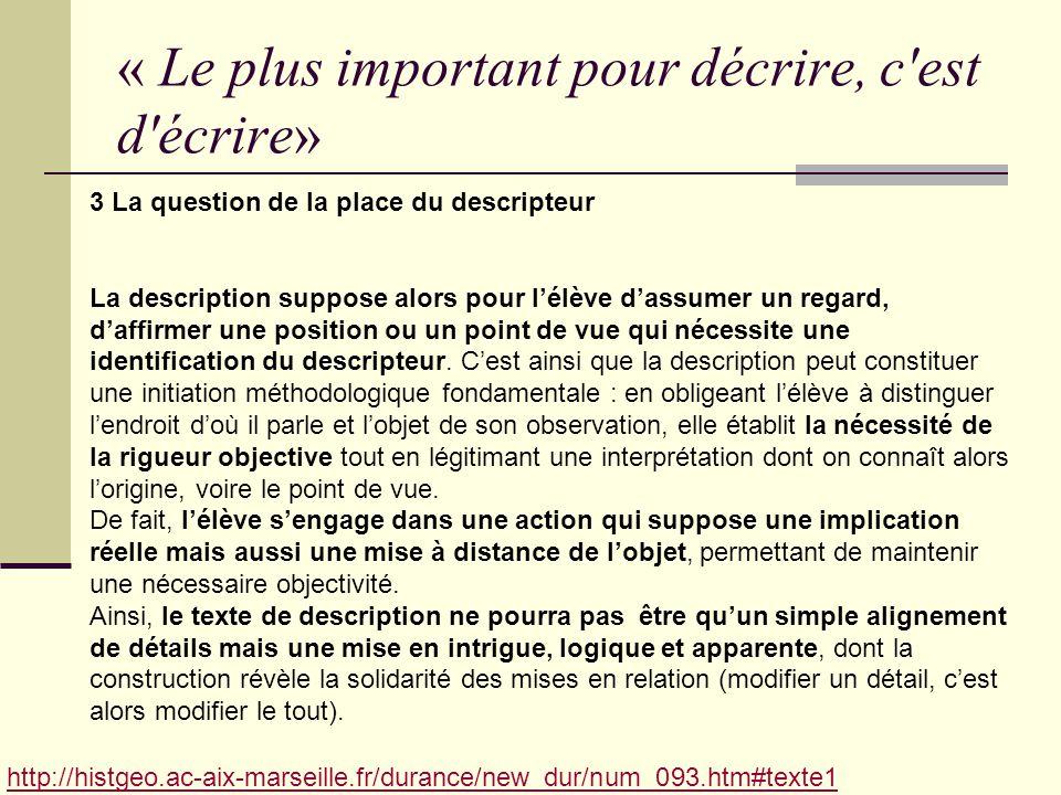 « Le plus important pour décrire, c'est d'écrire» http://histgeo.ac-aix-marseille.fr/durance/new_dur/num_093.htm#texte1 3 La question de la place du d