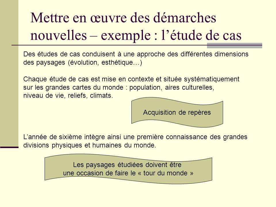 Mettre en œuvre des démarches nouvelles – exemple : létude de cas Des études de cas conduisent à une approche des différentes dimensions des paysages