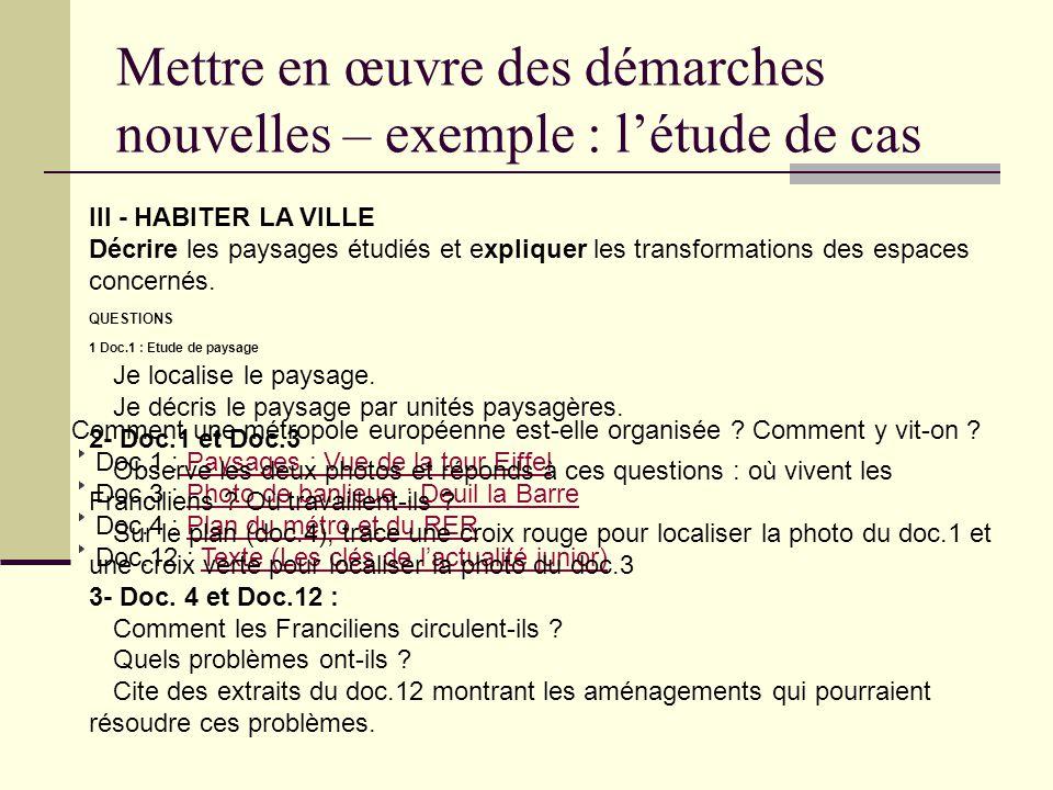 Comment une métropole européenne est-elle organisée ? Comment y vit-on ? Doc.1 : Paysages : Vue de la tour Eiffel Doc.3 : Photo de banlieue : Deuil la