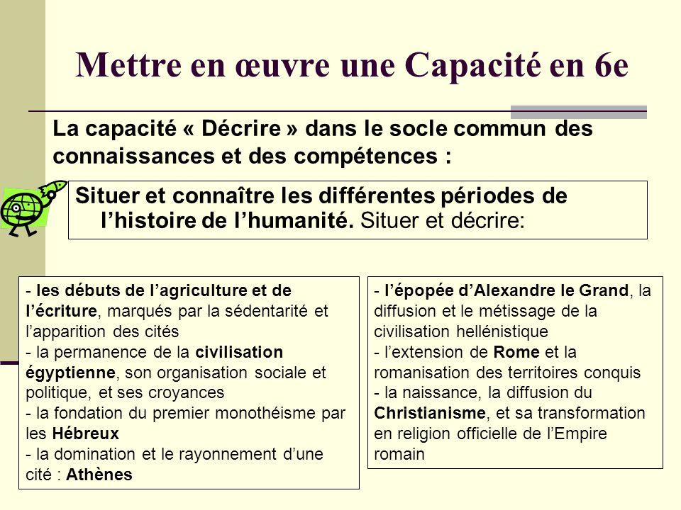 Mettre en œuvre une Capacité en 6e Situer et connaître les différentes périodes de lhistoire de lhumanité. Situer et décrire: La capacité « Décrire »