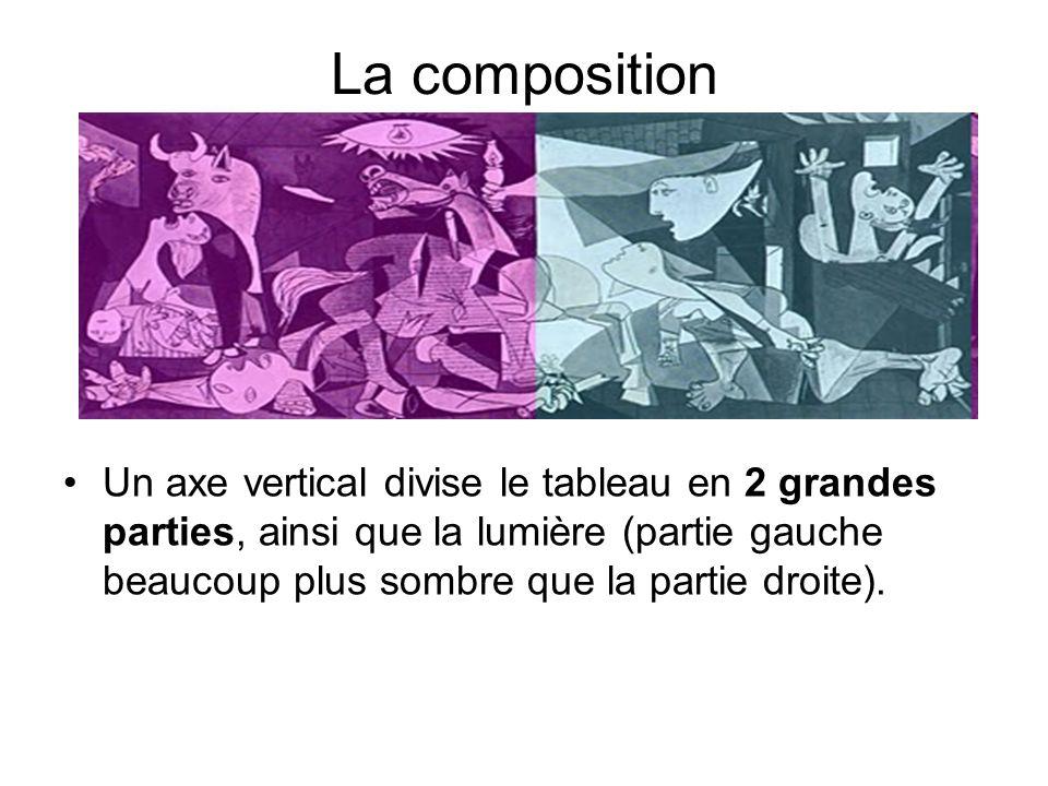 La composition Un axe vertical divise le tableau en 2 grandes parties, ainsi que la lumière (partie gauche beaucoup plus sombre que la partie droite).