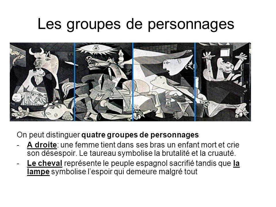 Les groupes de personnages On peut distinguer quatre groupes de personnages -A droite: une femme tient dans ses bras un enfant mort et crie son désesp
