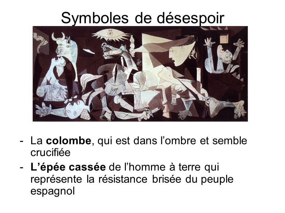 Symboles de désespoir -La colombe, qui est dans lombre et semble crucifiée -Lépée cassée de lhomme à terre qui représente la résistance brisée du peup