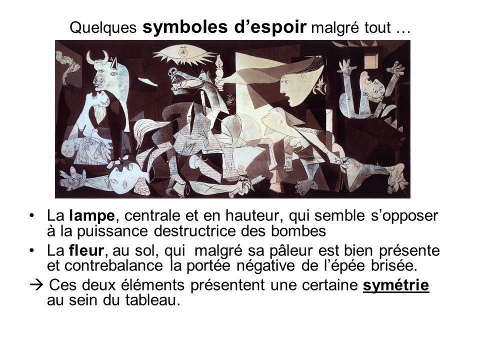 Quelques symboles despoir malgré tout … La lampe, centrale et en hauteur, qui semble sopposer à la puissance destructrice des bombes La fleur, au sol,