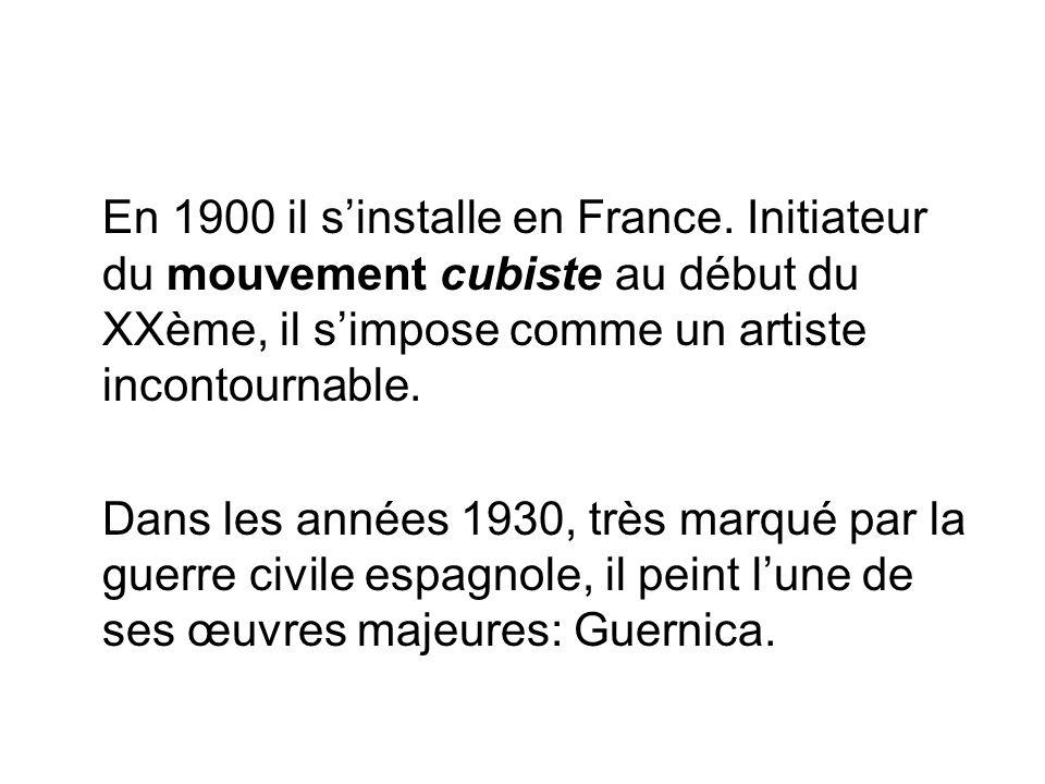 En 1900 il sinstalle en France. Initiateur du mouvement cubiste au début du XXème, il simpose comme un artiste incontournable. Dans les années 1930, t