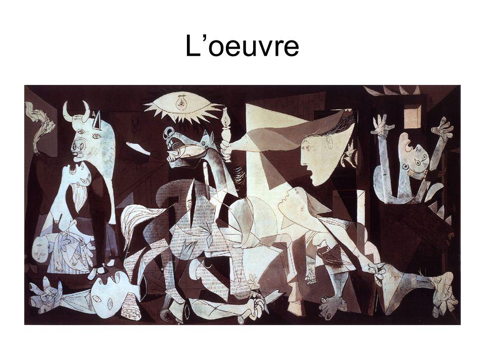 Description Au premier plan De gauche à droite : une femme avec un enfant dans ses bras, un taureau, un homme allongé avec une épée dans la main droite, un cheval, une lampe au plafond, une femme apparaissant à une fenêtre et brandissant une lampe à pétrole, une femme senfuyant, un personnage en proie aux flammes dune habitation.