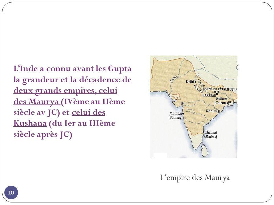 Lempire des Maurya LInde a connu avant les Gupta la grandeur et la décadence de deux grands empires, celui des Maurya (IVème au IIème siècle av JC) et celui des Kushana (du Ier au IIIème siècle après JC) 10