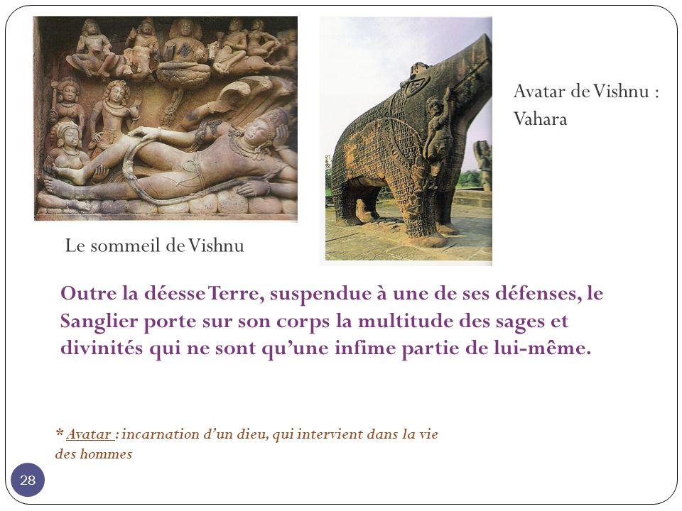 Le sommeil de Vishnu Avatar de Vishnu : Vahara * Avatar : incarnation dun dieu, qui intervient dans la vie des hommes Outre la déesse Terre, suspendue à une de ses défenses, le Sanglier porte sur son corps la multitude des sages et divinités qui ne sont quune infime partie de lui-même.