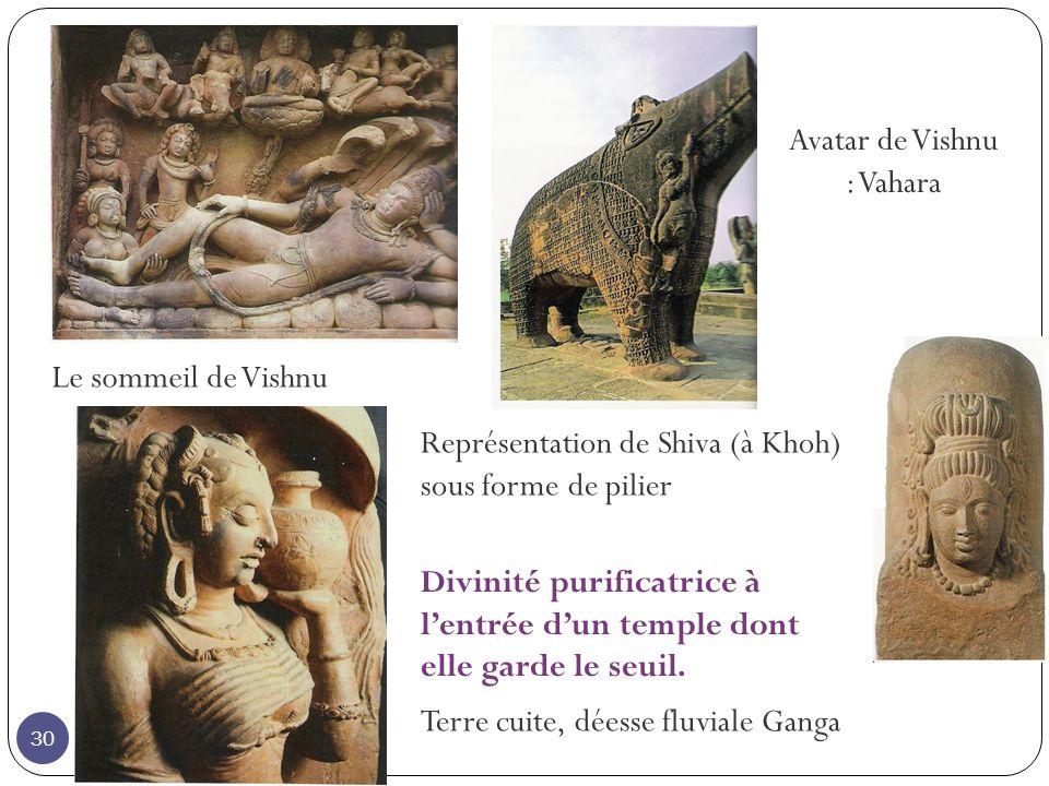 Le sommeil de Vishnu Avatar de Vishnu : Vahara Représentation de Shiva (à Khoh) sous forme de pilier Terre cuite, déesse fluviale Ganga Divinité purif