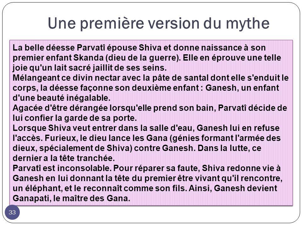 La belle déesse Parvatî épouse Shiva et donne naissance à son premier enfant Skanda (dieu de la guerre). Elle en éprouve une telle joie qu'un lait sac