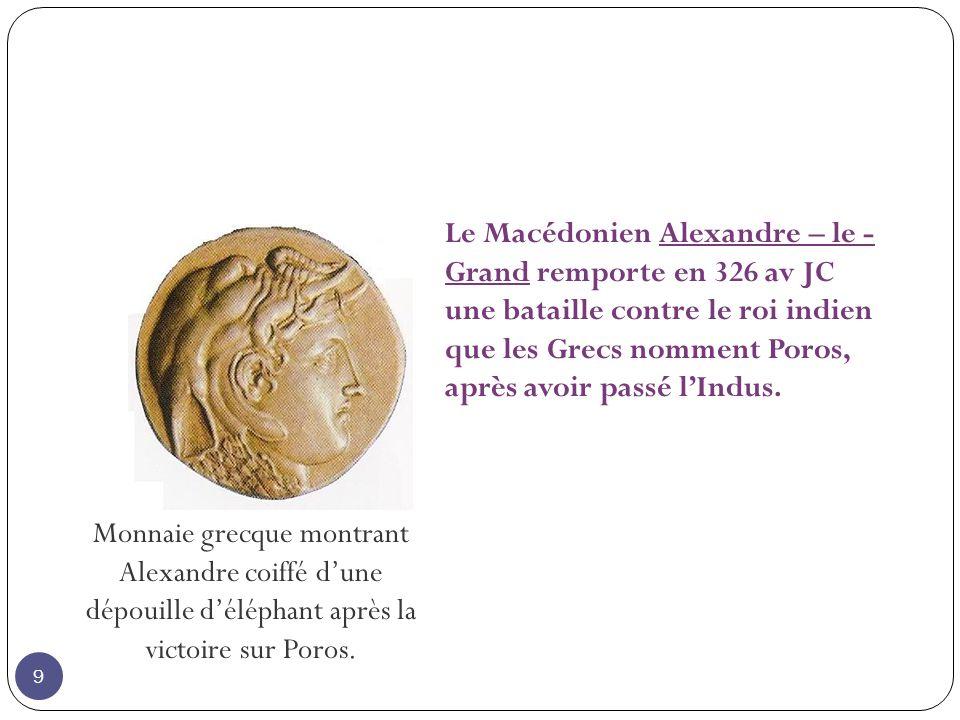 Le Macédonien Alexandre – le - Grand remporte en 326 av JC une bataille contre le roi indien que les Grecs nomment Poros, après avoir passé lIndus.
