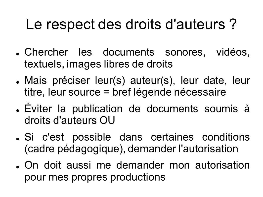 Chercher les documents sonores, vidéos, textuels, images libres de droits Mais préciser leur(s) auteur(s), leur date, leur titre, leur source = bref l