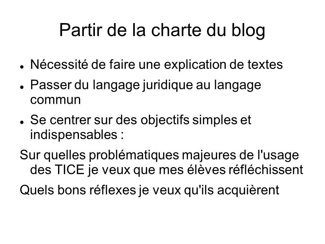 Partir de la charte du blog Nécessité de faire une explication de textes Passer du langage juridique au langage commun Se centrer sur des objectifs simples et indispensables : Sur quelles problématiques majeures de l usage des TICE je veux que mes élèves réfléchissent Quels bons réflexes je veux qu ils acquièrent