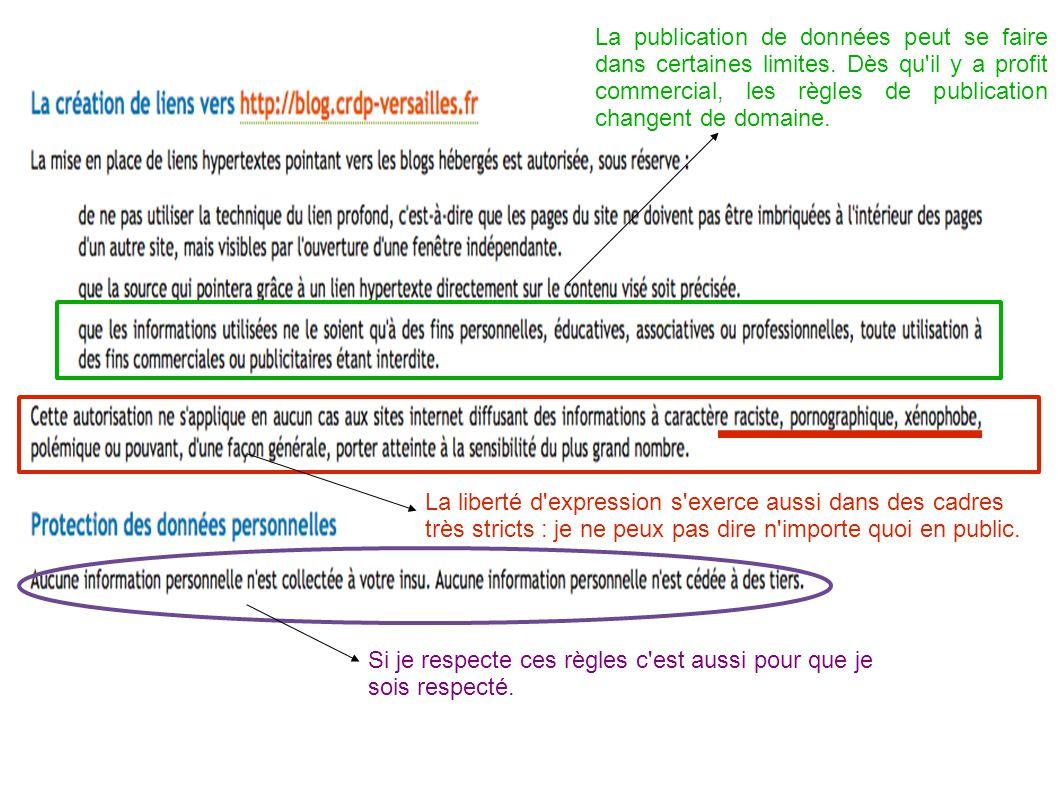La publication de données peut se faire dans certaines limites. Dès qu'il y a profit commercial, les règles de publication changent de domaine. La lib
