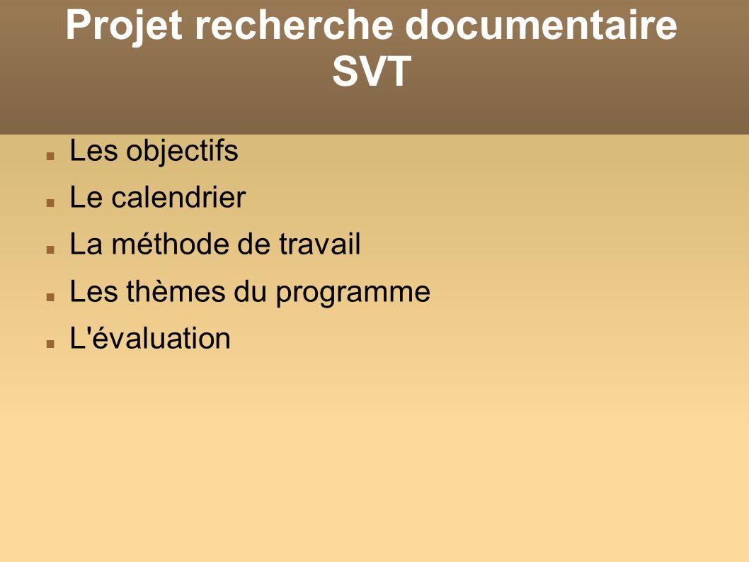 Projet recherche documentaire SVT Les objectifs Le calendrier La méthode de travail Les thèmes du programme L'évaluation