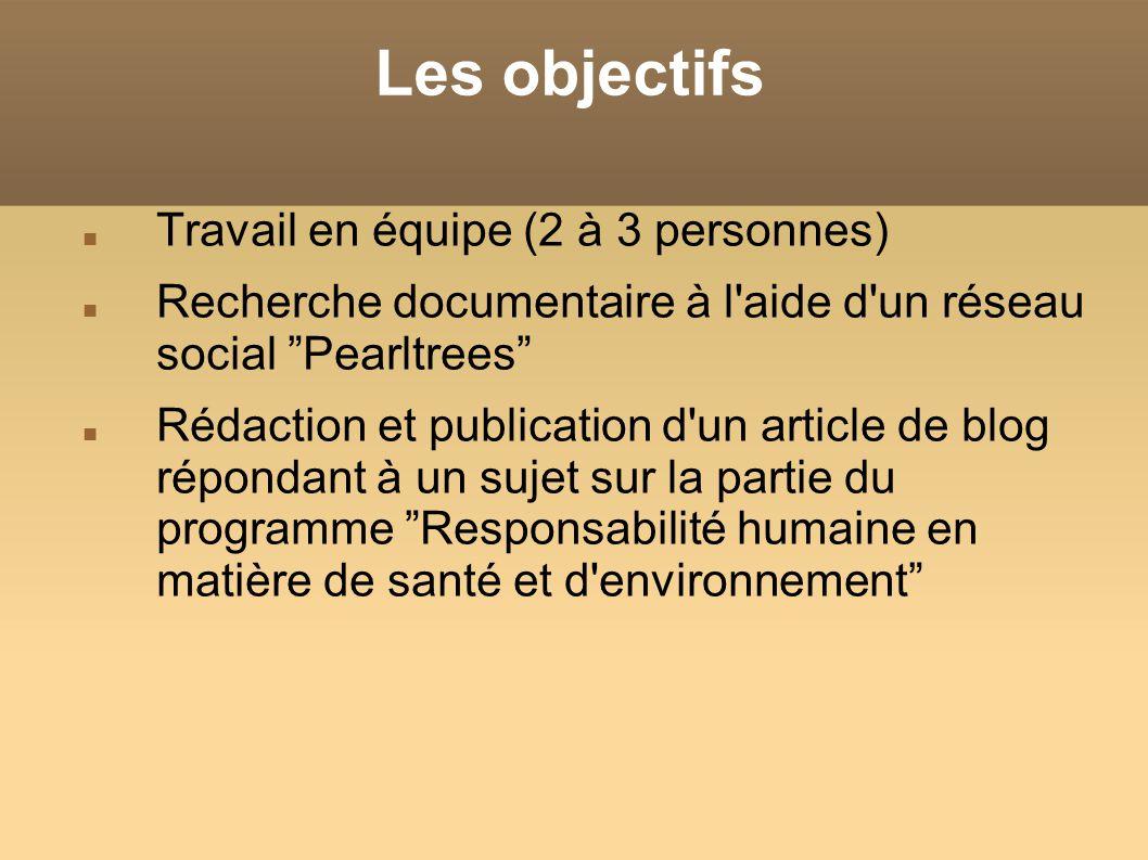 Les objectifs Travail en équipe (2 à 3 personnes) Recherche documentaire à l'aide d'un réseau social Pearltrees Rédaction et publication d'un article