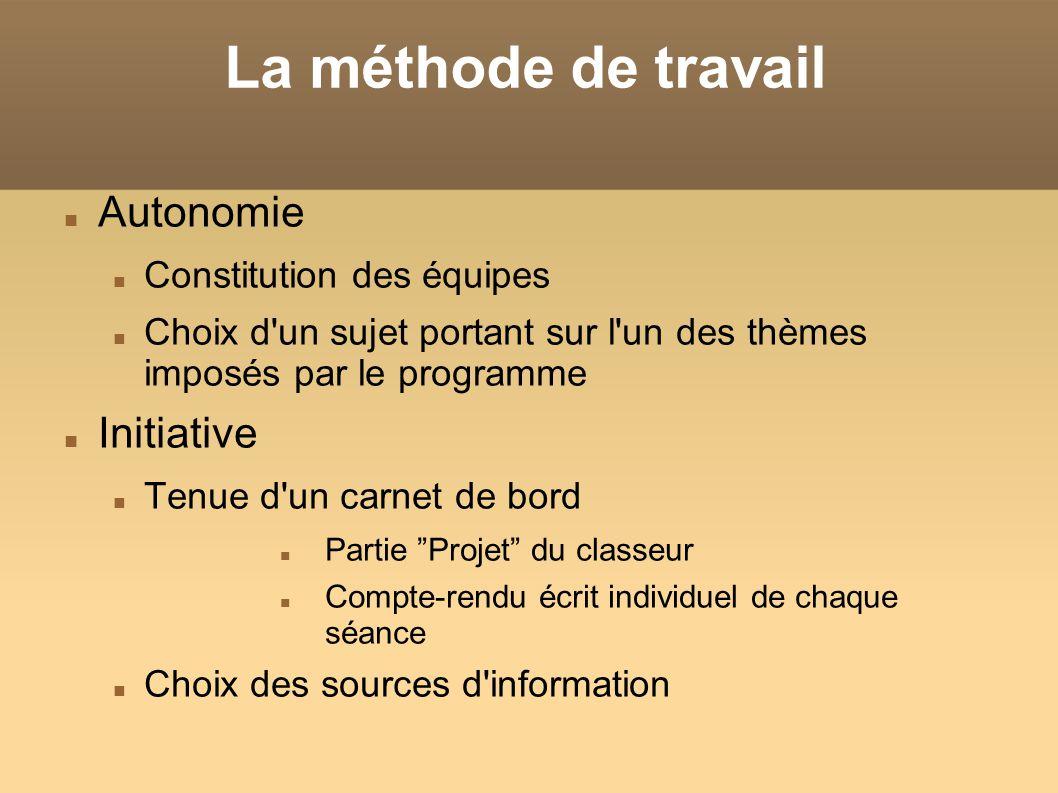 La méthode de travail Autonomie Constitution des équipes Choix d'un sujet portant sur l'un des thèmes imposés par le programme Initiative Tenue d'un c