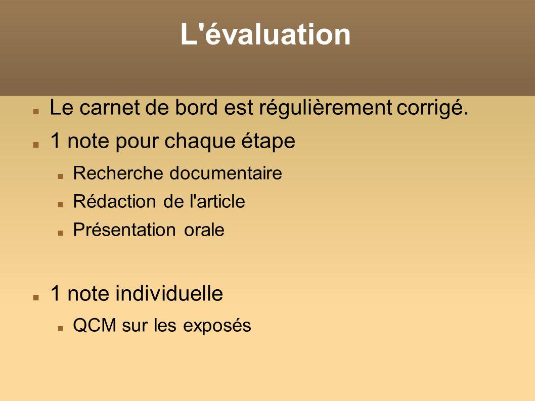 L'évaluation Le carnet de bord est régulièrement corrigé. 1 note pour chaque étape Recherche documentaire Rédaction de l'article Présentation orale 1