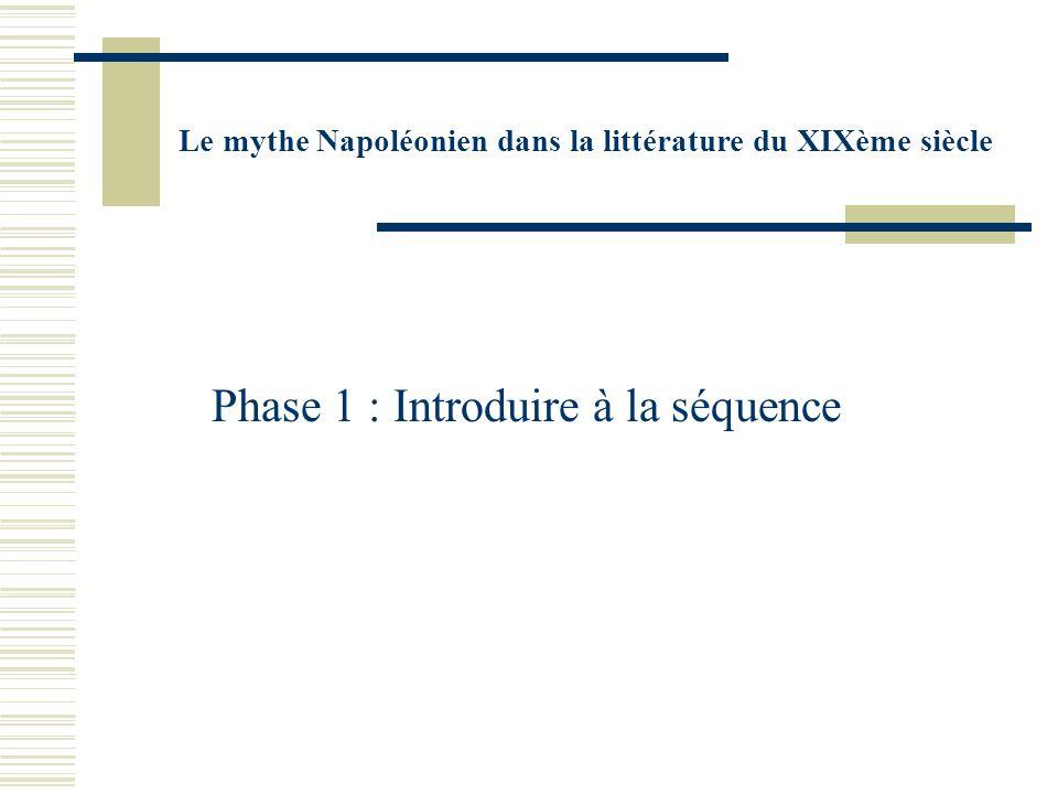 Le mythe Napoléonien dans la littérature du XIXème siècle Phase 1 : Introduire à la séquence