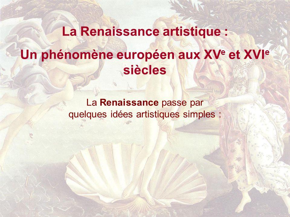 La Renaissance artistique : Un phénomène européen aux XV e et XVI e siècles La Renaissance passe par quelques idées artistiques simples :