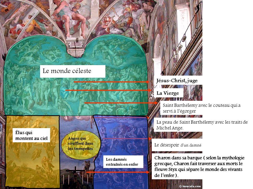 Le monde céleste La peau de Saint Barthélemy avec les traits de Michel Ange. Jésus-Christ, juge La Vierge Saint Barthélemy avec le couteau qui a servi