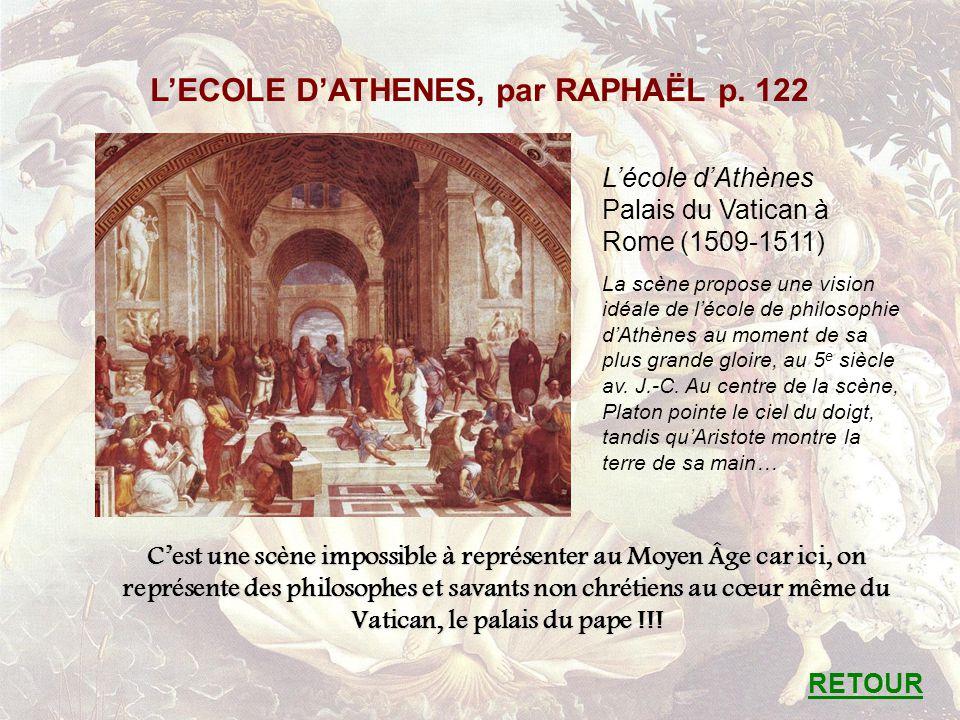 LECOLE DATHENES, par RAPHAËL p. 122 Lécole dAthènes Palais du Vatican à Rome (1509-1511) La scène propose une vision idéale de lécole de philosophie d