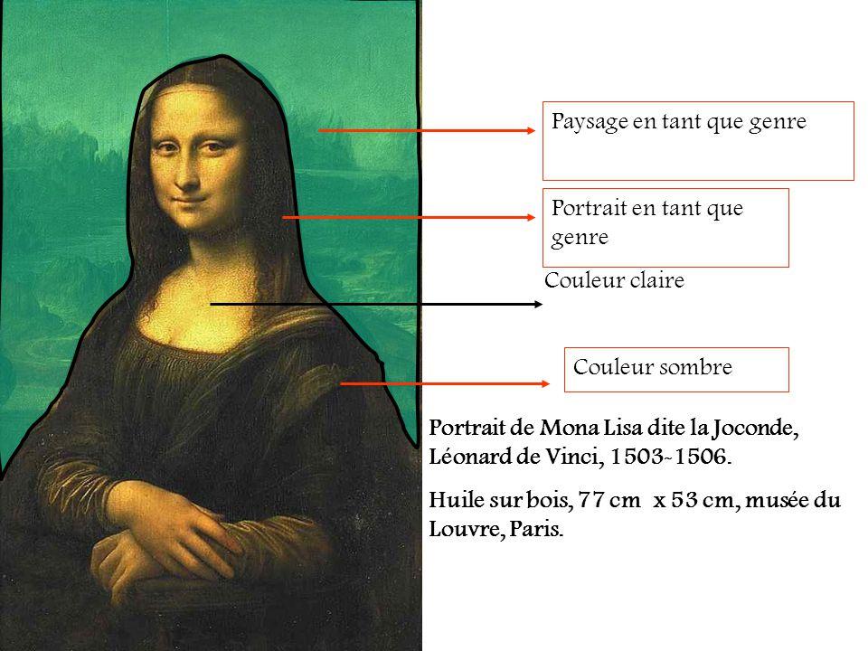 Portrait de Mona Lisa dite la Joconde, Léonard de Vinci, 1503-1506. Huile sur bois, 77 cm x 53 cm, musée du Louvre, Paris. Couleur claire Couleur somb