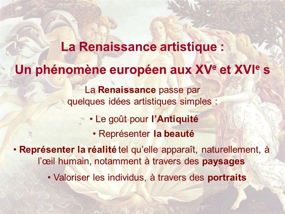 La Renaissance artistique : Un phénomène européen aux XV e et XVI e s Représenter la réalité tel quelle apparaît, naturellement, à lœil humain, notamm