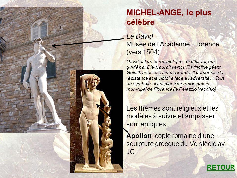 MICHEL-ANGE, le plus célèbre Le David Musée de lAcadémie, Florence (vers 1504) David est un héros biblique, roi dIsraël, qui, guidé par Dieu, aurait vaincu linvincible géant Goliath avec une simple fronde.