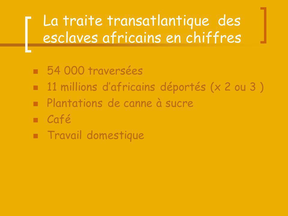 La traite transatlantique des esclaves africains en chiffres 54 000 traversées 11 millions dafricains déportés (x 2 ou 3 ) Plantations de canne à sucr