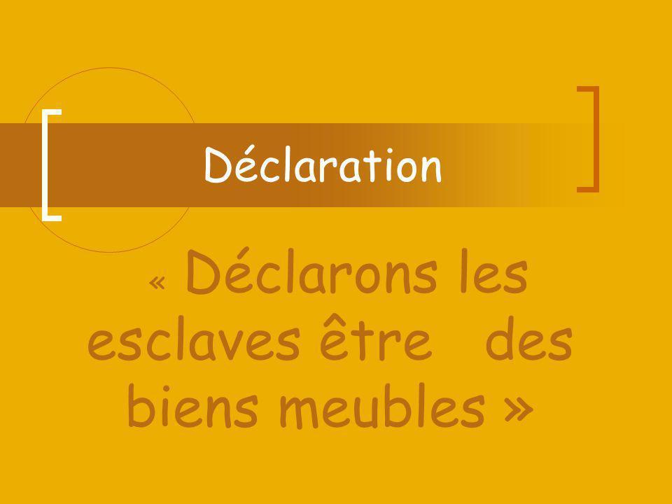 Déclaration « Déclarons les esclaves être des biens meubles »