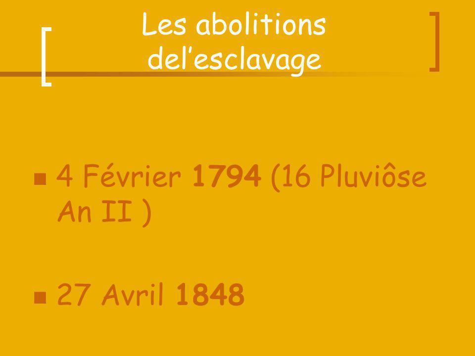 Les abolitions delesclavage 4 Février 1794 (16 Pluviôse An II ) 27 Avril 1848