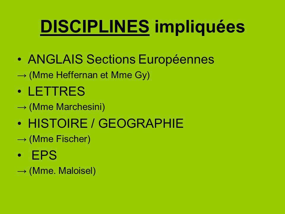 DISCIPLINES impliquées ANGLAIS Sections Européennes (Mme Heffernan et Mme Gy) LETTRES (Mme Marchesini) HISTOIRE / GEOGRAPHIE (Mme Fischer) EPS (Mme. M