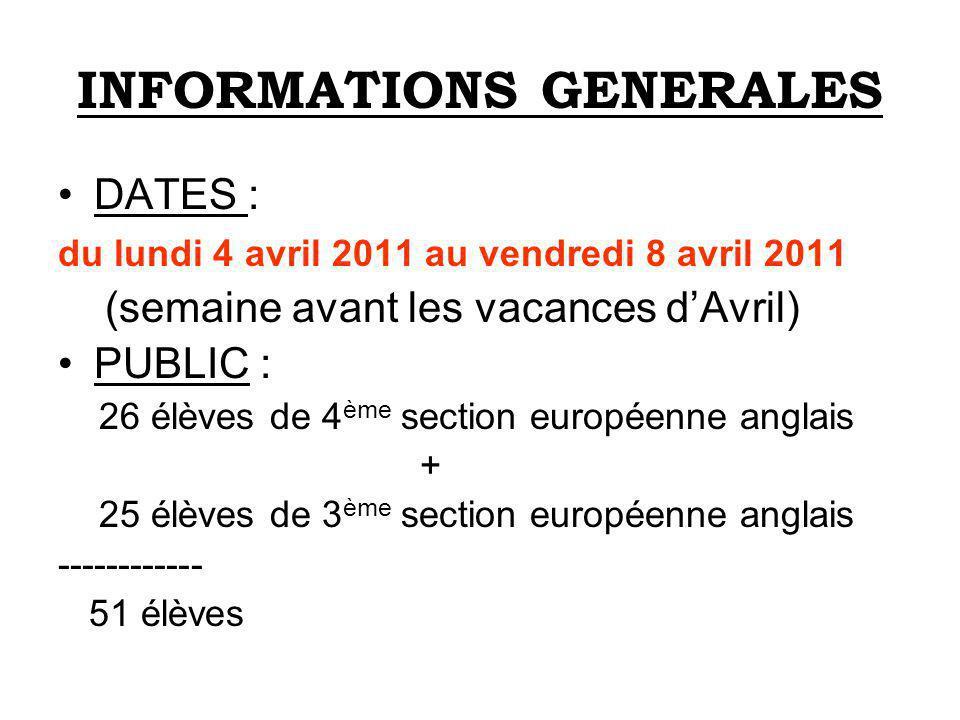 INFORMATIONS GENERALES DATES : du lundi 4 avril 2011 au vendredi 8 avril 2011 (semaine avant les vacances dAvril) PUBLIC : 26 élèves de 4 ème section