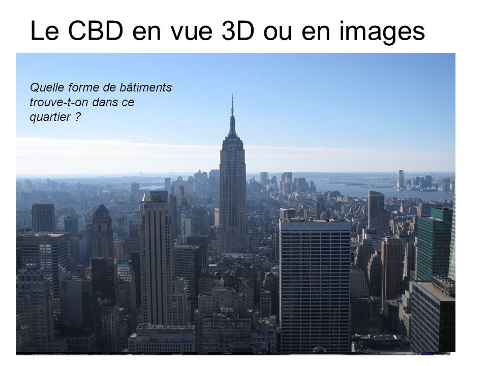 Le CBD en vue 3D ou en images Quelle forme de bâtiments trouve-t-on dans ce quartier ?