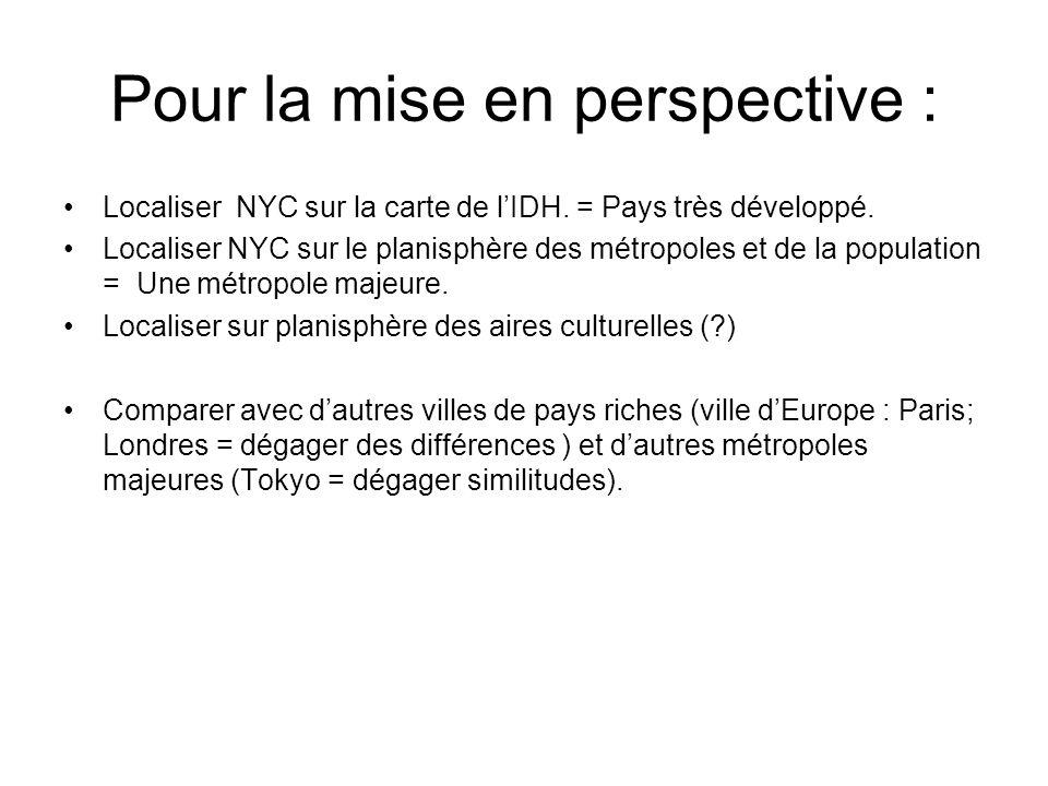 Pour la mise en perspective : Localiser NYC sur la carte de lIDH. = Pays très développé. Localiser NYC sur le planisphère des métropoles et de la popu