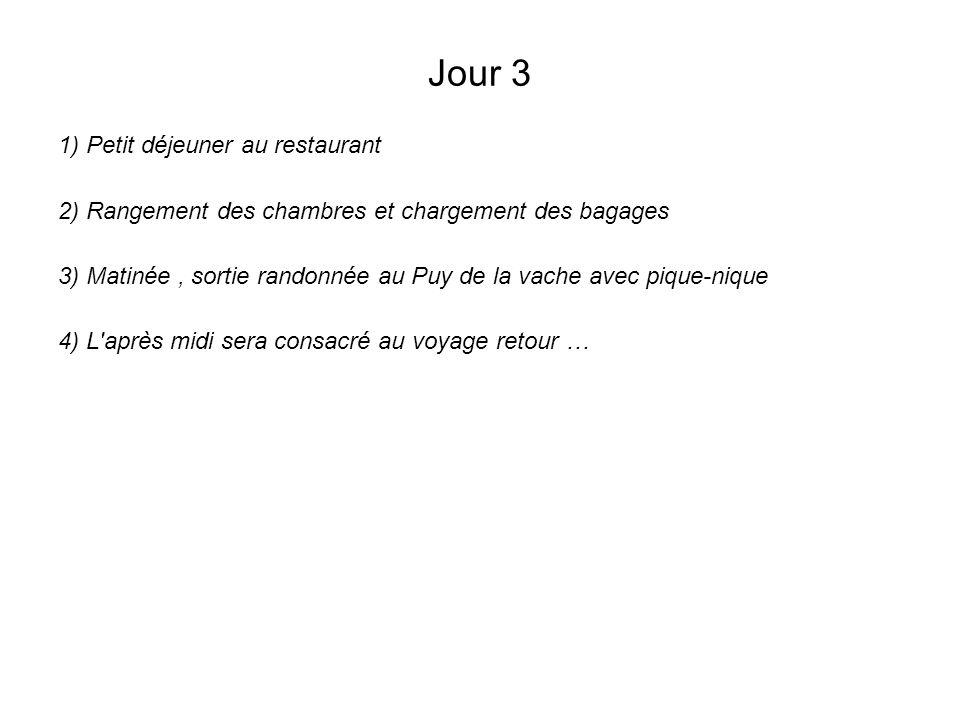 Jour 3 1) Petit déjeuner au restaurant 2) Rangement des chambres et chargement des bagages 3) Matinée, sortie randonnée au Puy de la vache avec pique-nique 4) L après midi sera consacré au voyage retour …
