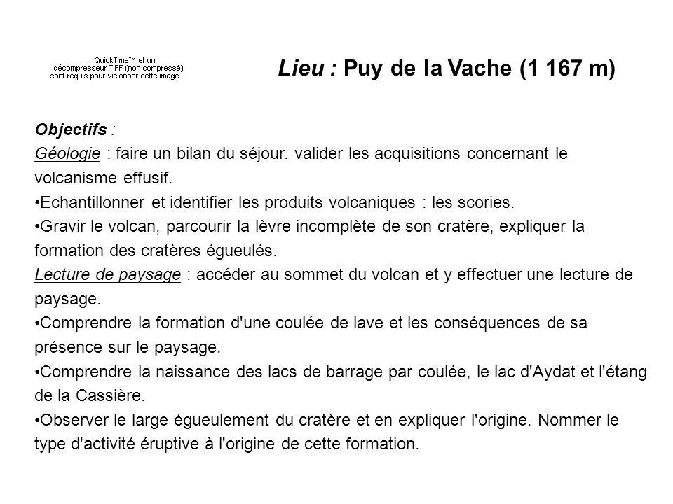 Lieu : Puy de la Vache (1 167 m) Objectifs : Géologie : faire un bilan du séjour.