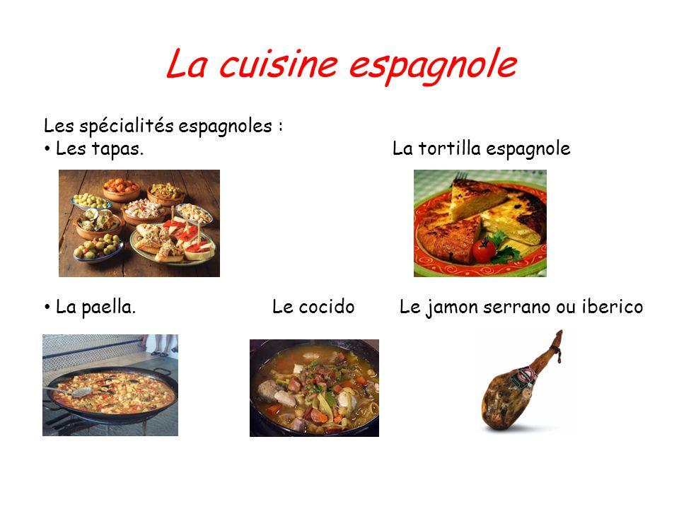 La cuisine espagnole Les spécialités espagnoles : Les tapas. La tortilla espagnole La paella. Le cocido Le jamon serrano ou iberico