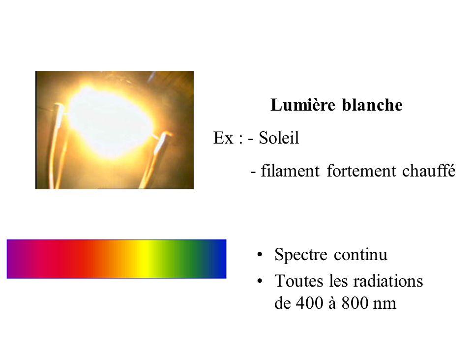 Spectre continu Toutes les radiations de 400 à 800 nm Lumière blanche Ex : - Soleil - filament fortement chauffé