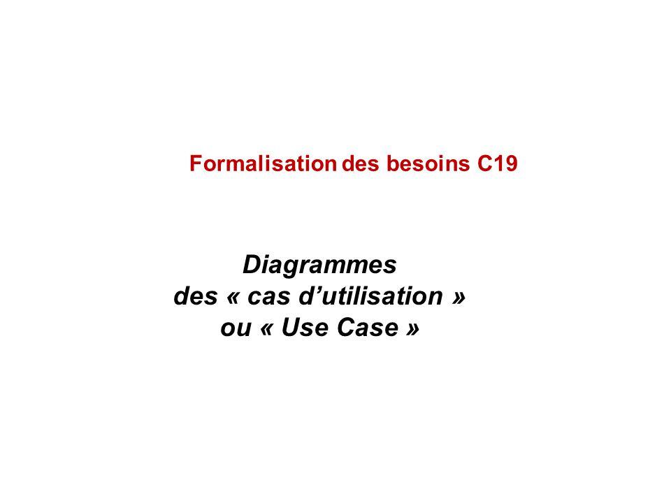Diagrammes des « cas dutilisation » ou « Use Case » Formalisation des besoins C19