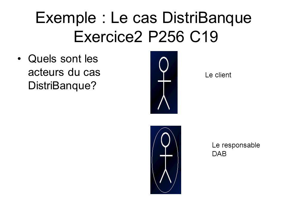 Exemple : Le cas DistriBanque Exercice2 P256 C19 Quels sont les acteurs du cas DistriBanque? Le client Le responsable DAB SI BANQUE