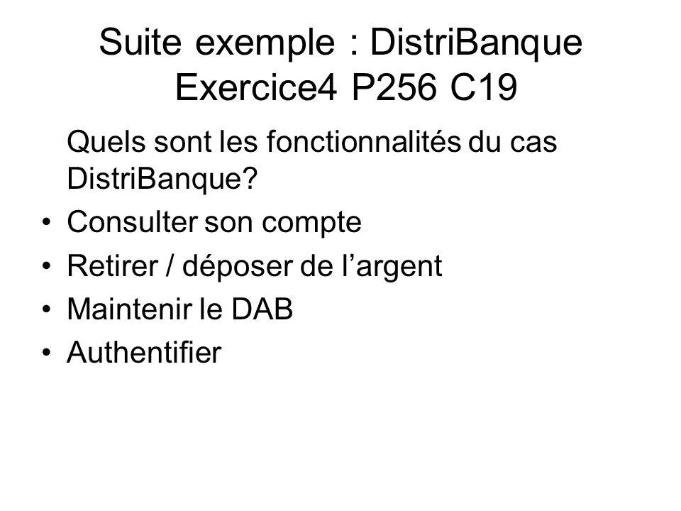Suite exemple : DistriBanque Exercice4 P256 C19 Quels sont les fonctionnalités du cas DistriBanque? Consulter son compte Retirer / déposer de largent