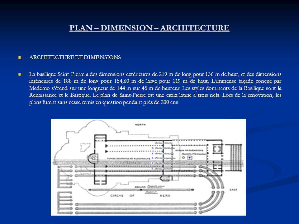 PLAN – DIMENSION – ARCHITECTURE ARCHITECTURE ET DIMENSIONS ARCHITECTURE ET DIMENSIONS La basilique Saint-Pierre a des dimensions extérieures de 219 m