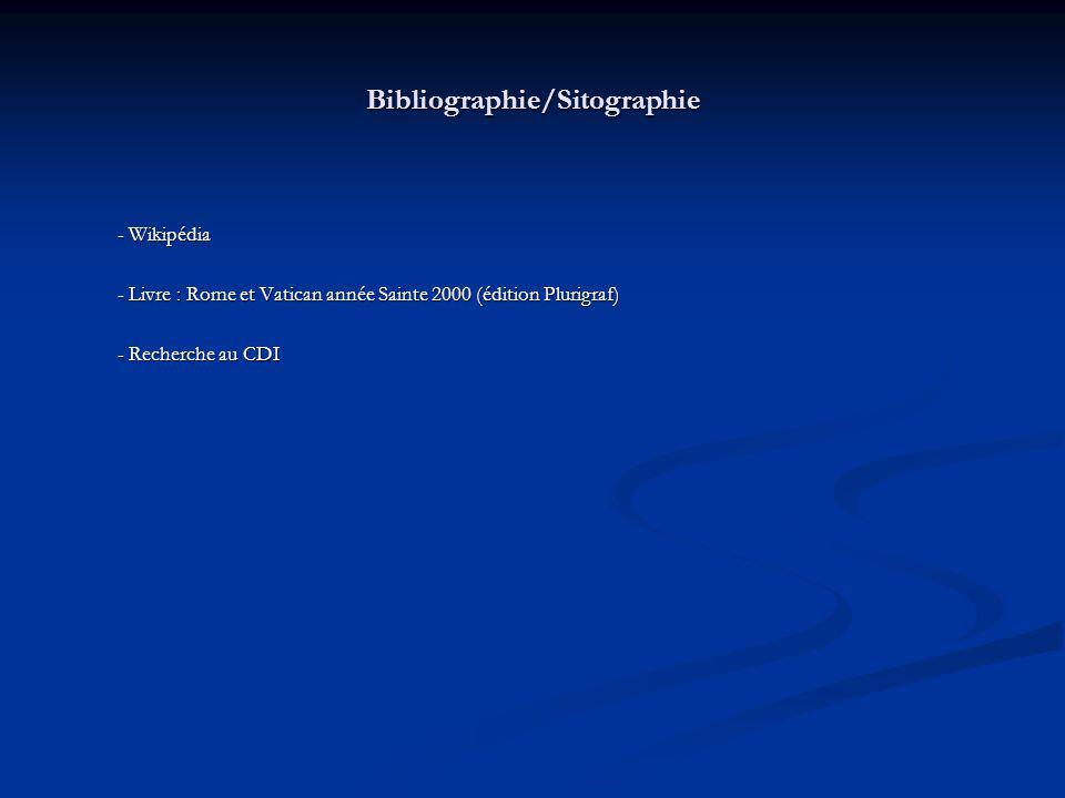Bibliographie/Sitographie - Wikipédia - Livre : Rome et Vatican année Sainte 2000 (édition Plurigraf) - Recherche au CDI