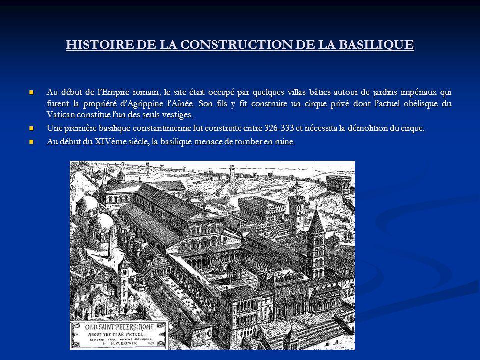 HISTOIRE DE LA CONSTRUCTION DE LA BASILIQUE Au début de lEmpire romain, le site était occupé par quelques villas bâties autour de jardins impériaux qu